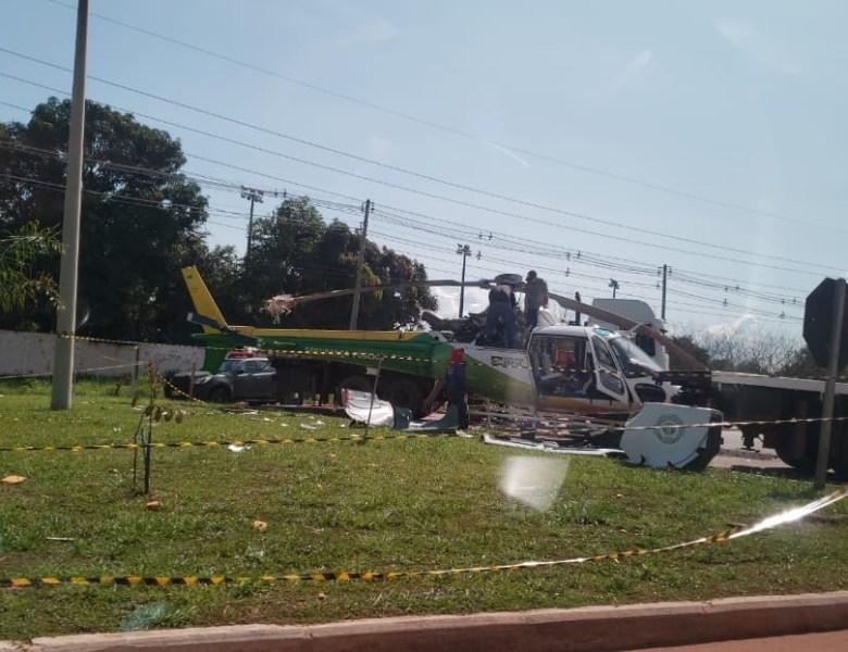 Remoção e perícia do Helicóptero começam após uma semana de acidente com caminhão
