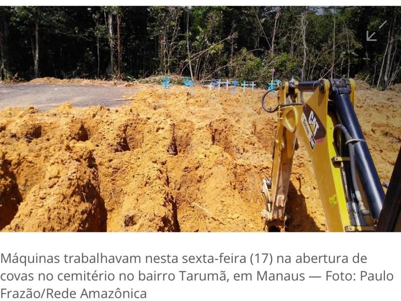 Demanda em cemitério de Manaus cresce 50% após casos de Covid-19, e prefeitura abre novas covas