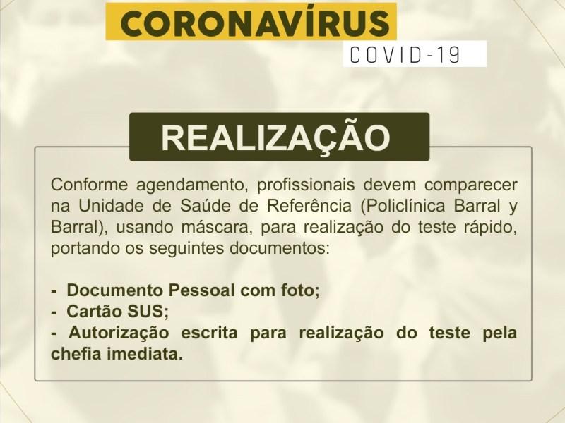 Prefeitura continua realizando testes rápidos da Covid-19 apenas para profissionais da saúde e da segurança