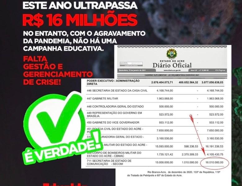 Edvaldo comprova que governo dispõe de R$ 16milhões para investir em campanhas educativas