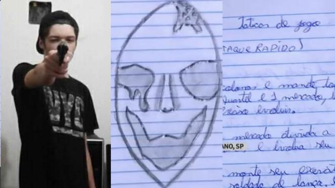 Polícia encontra cadernos com anotações de Guilherme Taucci, de 17 anos, que organizou o massacre em Suzano.