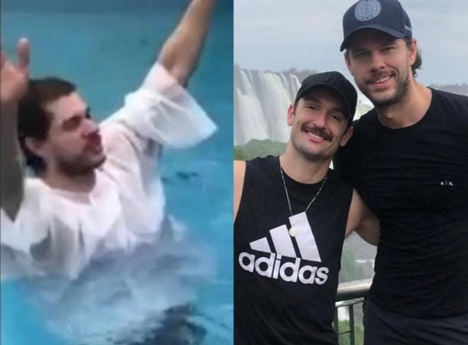 Namorado de Diego Hypólito se batiza em igreja evangélica.