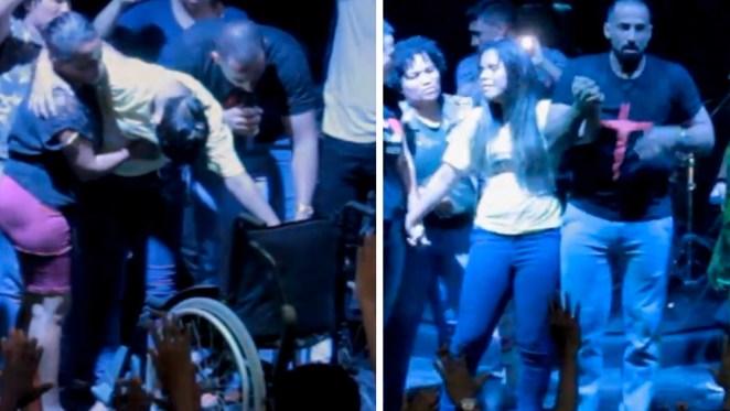 Jovem levanta da cadeira de rodas durante culto.