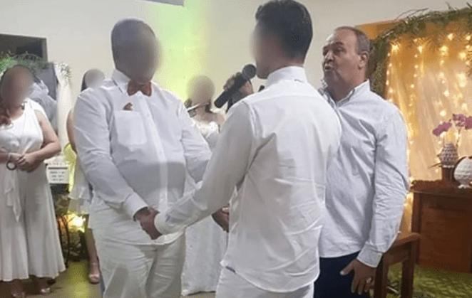 Padre Vicente Paula Gomes celebra casamento homoafetivo em Assis (SP).