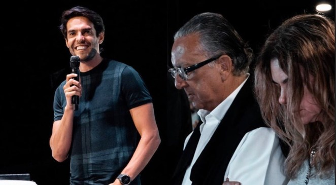 Kaká dá palestra na Lagoinha com presença de Galvão Bueno.