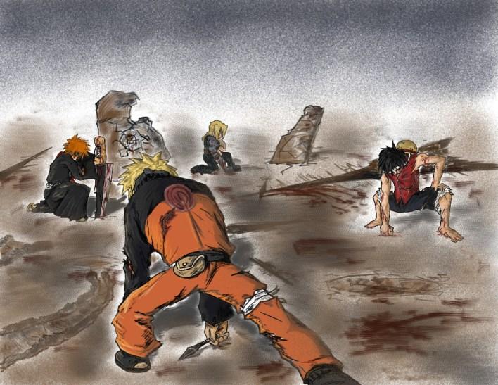 Naruto_Luffy_Ed_Ichigo_Battle_by_SmashiiMan