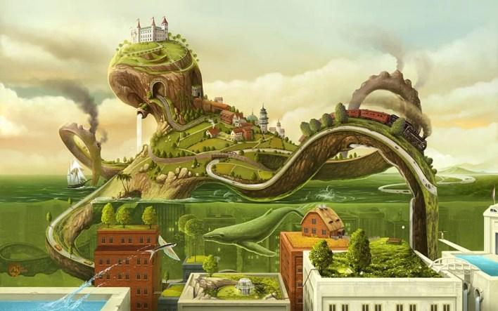 Octopus City Wallpaper
