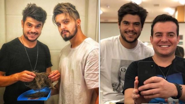 Hairstylist Dougllas Dias com Luan Santana e Belutti