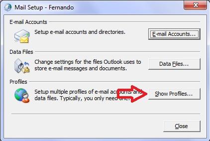 Restablecer Configuración de Microsoft Outlook en Windows - Show Profiles