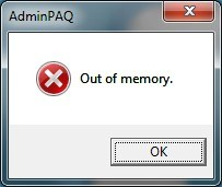 AdminPAQ - Out of memory