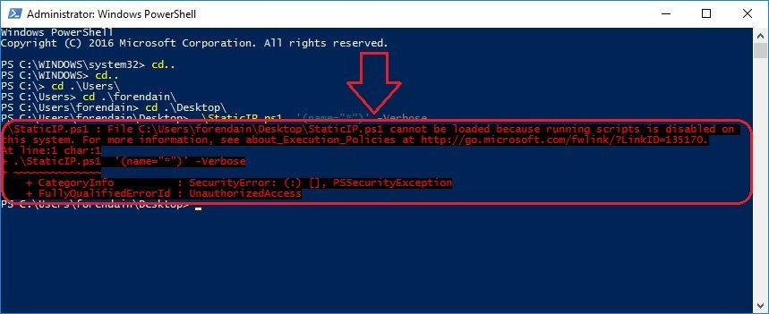 Powershell error cannot be loaded because runnig scripts is disabled