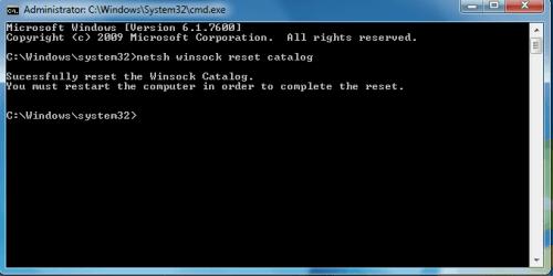 Restablecer el adaptador de red-netsh winsock reset