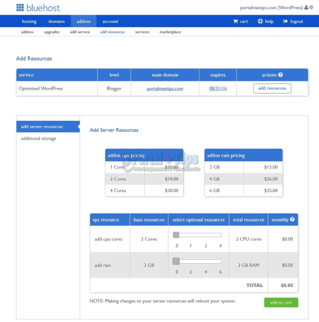 bluehost-cpanel-add-resources