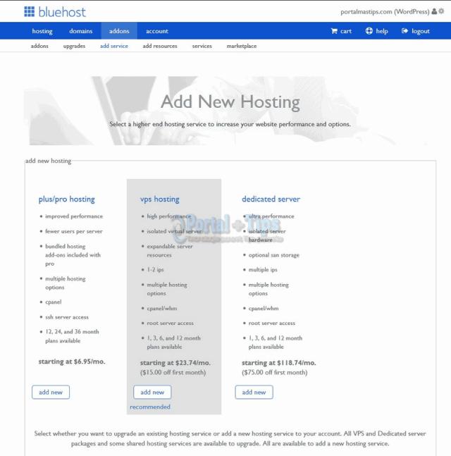 bluehost-cpanel-add-service
