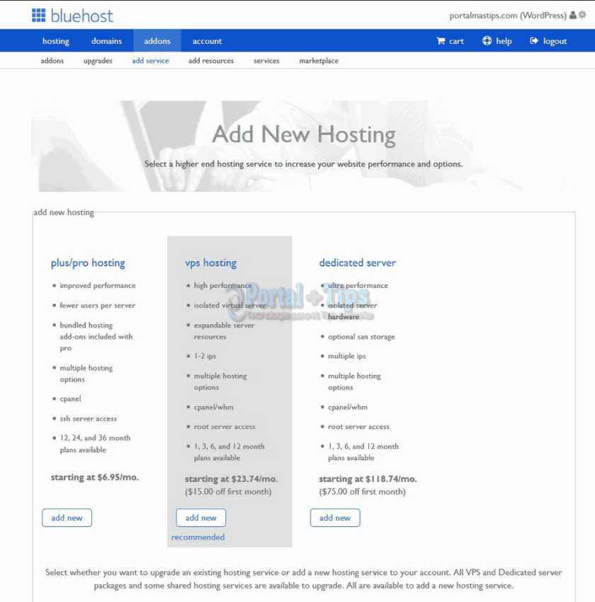 bluehost-cpanel-add-service
