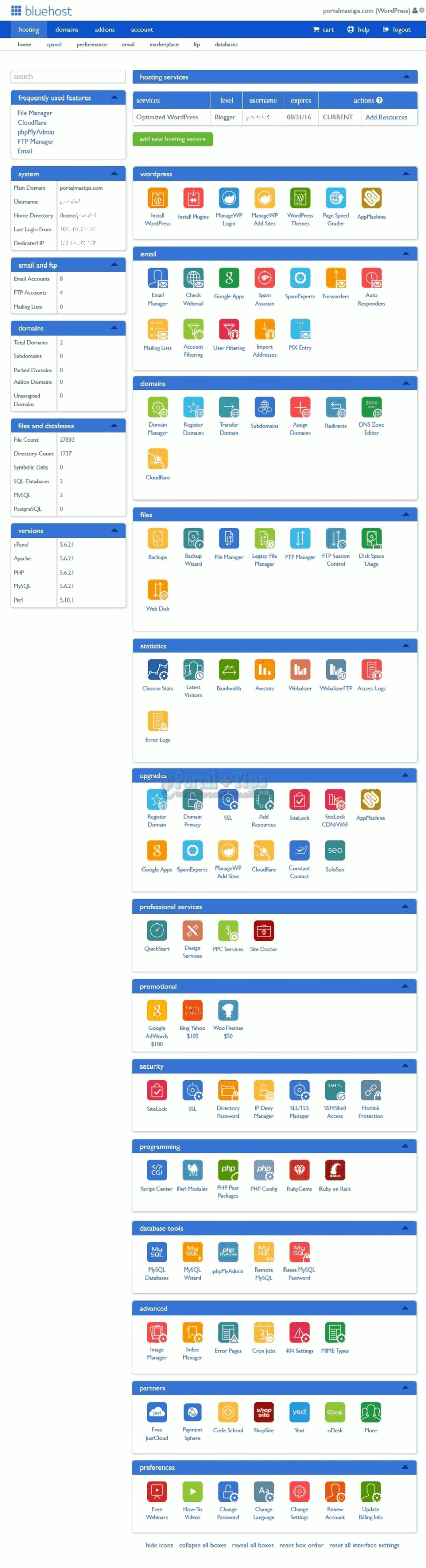 bluehost-cpanel-completo
