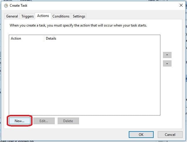 Crear tarea programada en windows actions