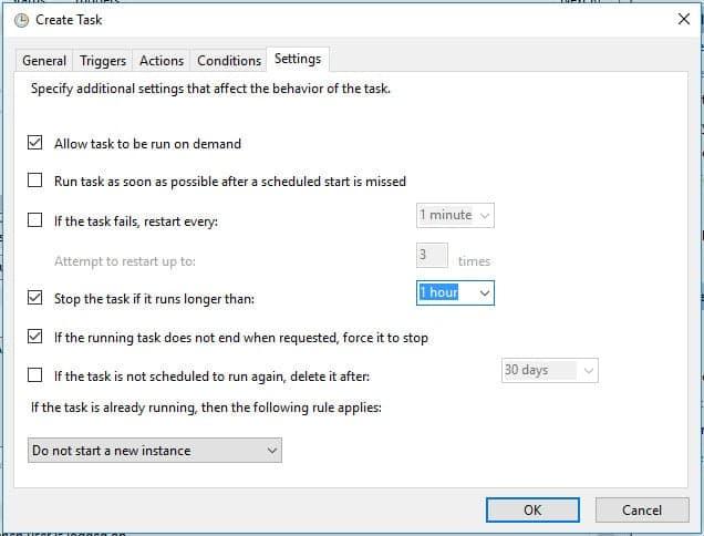 Crear tarea programada en windows settings
