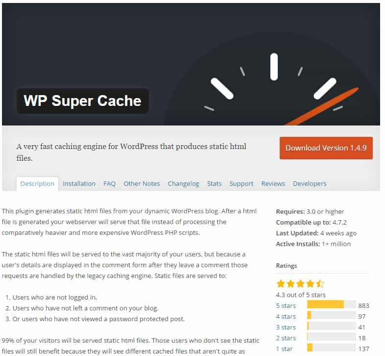 Wp super cache repositorio