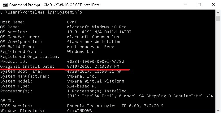 Windows systeminfo cmd para determinar cuando se instalo windows