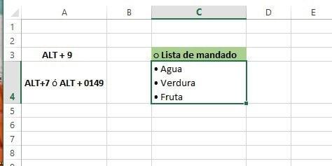 Excel agregar vinetas en celda