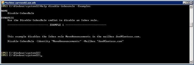 PowerShell - Verreglas configuradas en buzón de correo - Help