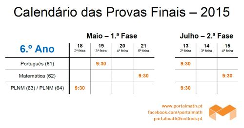 Datas Provas Finais 6Ano 2015 portalmath