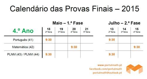 Datas Calendário Provas Finais 4Ano 2015 portalmath