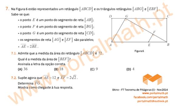 8Ano Ficha Trabalho Teorema Pitágoras portalmath