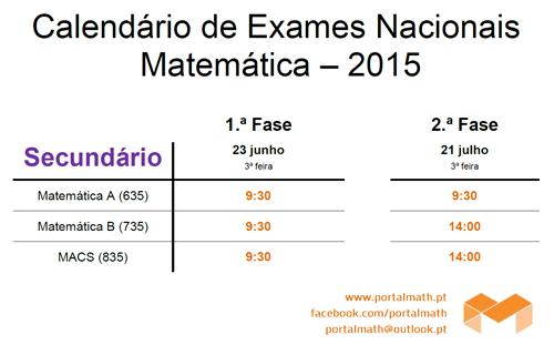 Datas Exames Matemática Secundário 2015