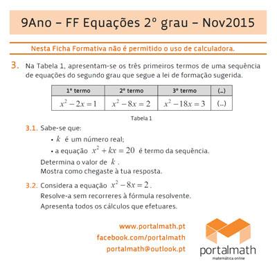 9º ano Matemática - Novo Programa - Ficha Formativa - Equações do 2º grau