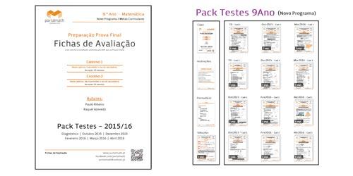 Pack 9º ano  Testes Prova Final Materiais Preparação Provas Matemática