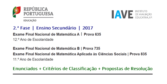 Exames Matemática 21 julho 2017 2ª fase enunciado resolução critérios de classificação MACS Matemática A Matemática B