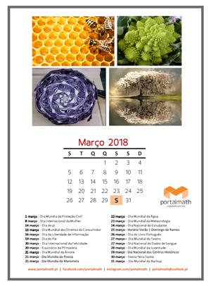 Calendário Março 2018 portalmath
