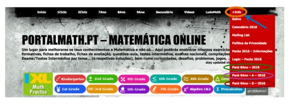 portalmath packs 2018 fichas trabalho prova aferição 8º ano prova final exame 9º ano matemática