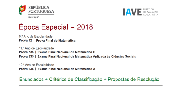 Época Especial 2018 - Exames Matemática