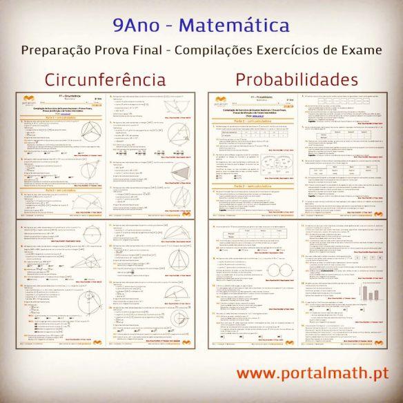 Probabilidades Circunferência 9Ano Compilação Exercícios Exames Provas Finais Matemática