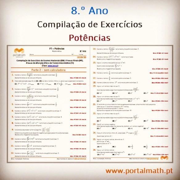 8ano 9ano matemática potências compilação exercícios