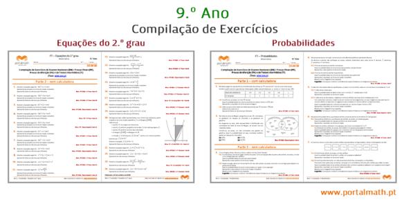 compilação exercícios probabilidades equações do 2.º grau exercícios 9º ano ficha de trabalho matemática