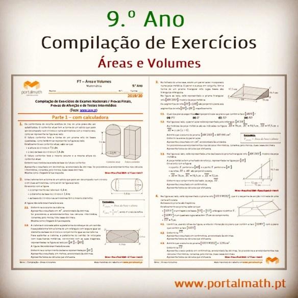Áreas e Volumes Compilação de Exercícios de Exames Provas Finais portalmath Preparação Prova Final Matemática