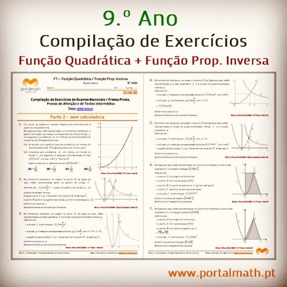 compilação exercícios exame função quadrática proporcionalidade inversa