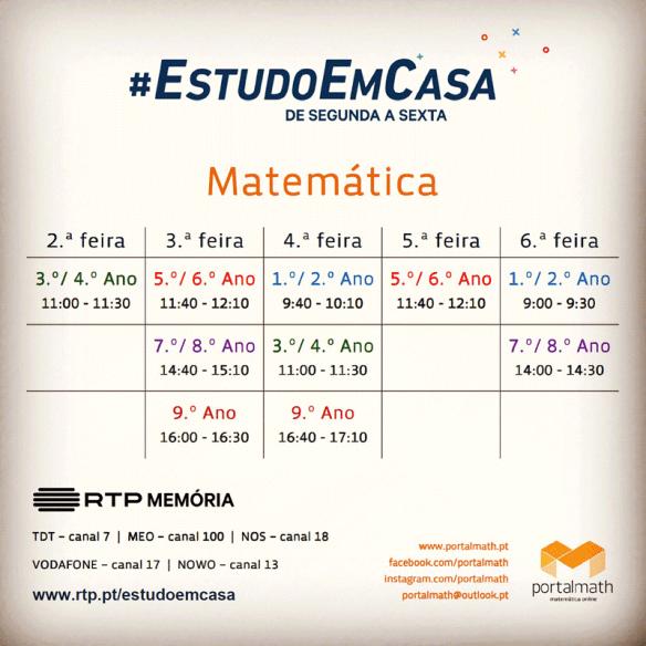 #EstudoEmCasa - Horário - Matemática