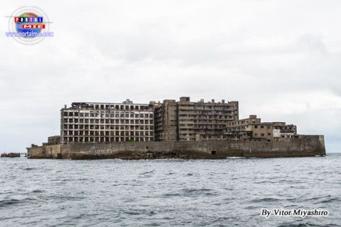 Gunkanjima vista do mar
