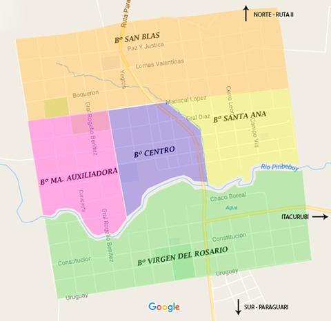 barrios de Piribebuy mapa urbano