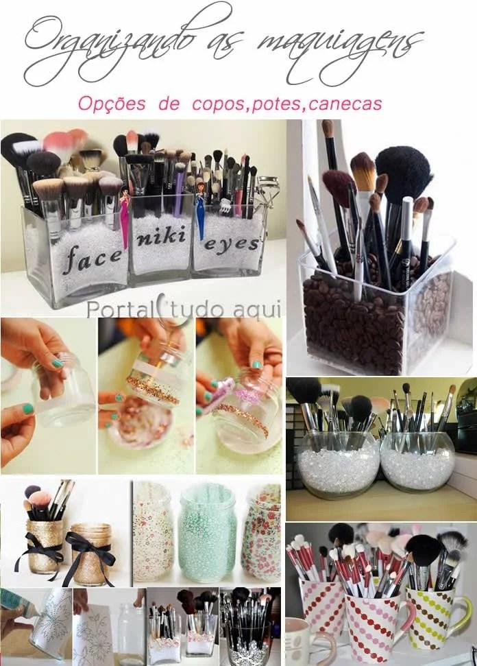 copos,potes e canecas para organizar maquiagem
