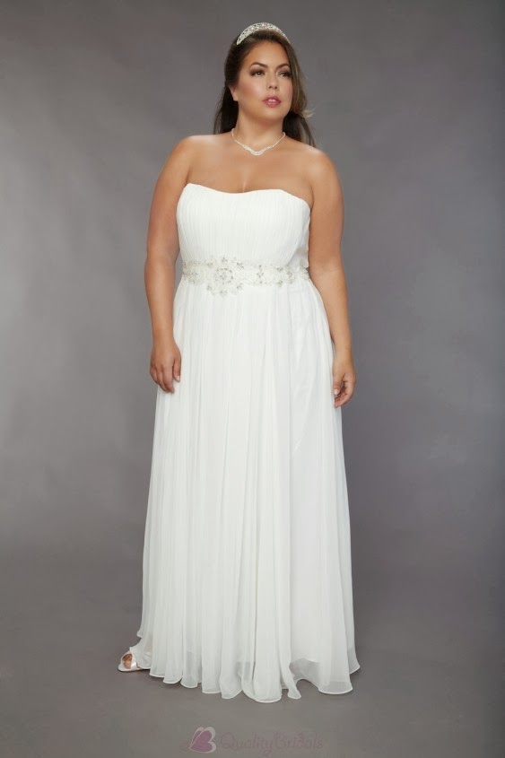 chiffon-strapless-bridal-wedding-gown-plus-size-pleated-skirt