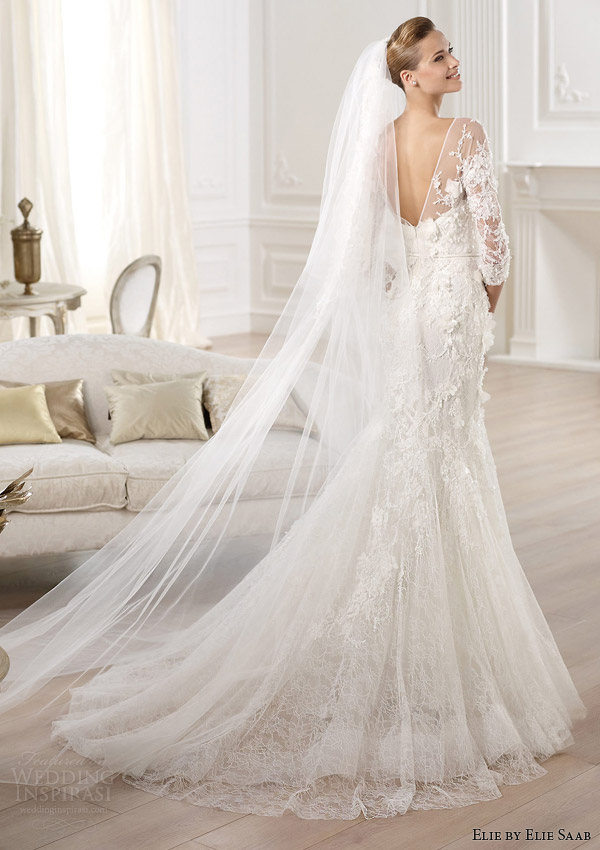 elie-by-elie-saab-2014-cignus-three-quearter-sleeve-wedding-dress-back-view-train