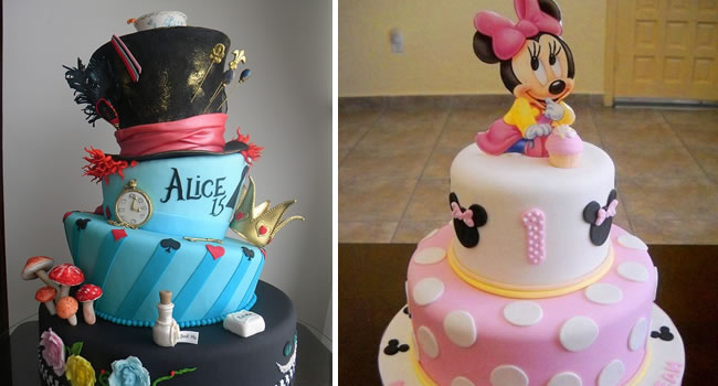 bolos decorados alice e minnie