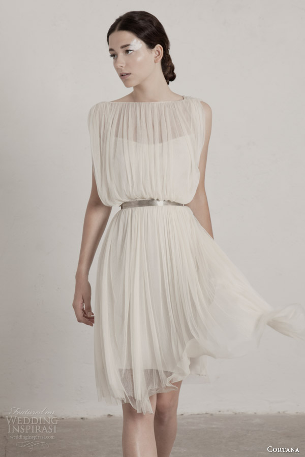 cortana-bridal-2015-fortuny-short-wedding-dress-sheer-draped-overlay-metallic-belt