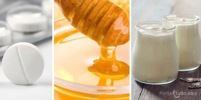 Peeling caseiro com aspirina, mel e iogurte natural.